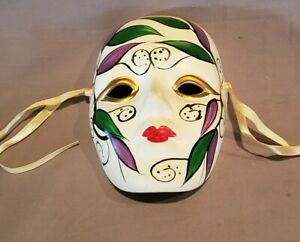 """Porcelain Ceramic Painted Wall Hanging Face Mask 5 3/4"""" X 4"""""""