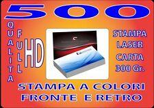 500 BIGLIETTI DA VISITA A COLORI 300GR STAMPA FRONTE E RETRO QUALITA' FULL HD