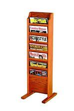 Wooden Mallet Cascade Free Standing 7 Pocket Magazine Rack Medium Oak MR7-FSMO