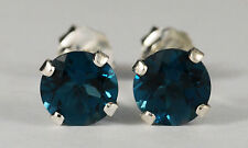 BEENJEWELED GENUINE NATURAL MINED LONDON BLUE TOPAZ EARRINGS~STERLING SILVER~6MM