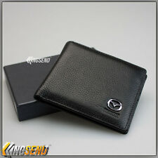 deluxe MAZDA Genuine 100% Cow Leather Bifold Wallet Men Slim Purse Car Pouch