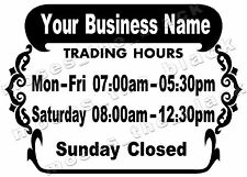 Trading Hours with Business Name Decal, 35x25cm  Vinyl Window Sticker, HQ Vinyl