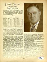 Joe Mccarthy Signed Jsa Certed 8x10 1933 Who`s Who Photo Autograph