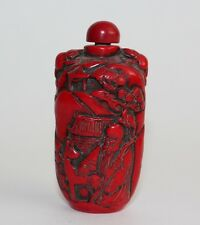 Chinese Snuff Bottle Carved Red Coral Turquoise Resin Wise Man Boy Birds Deer