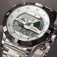 SHARK Digital LCD Quartz Date Stainless Steel Alarm Sports Wrist Watch for GBH