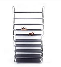10 Layer Tier Fabric Shoe Rack Shoe Shelves Closet Cabinet with Handle Black