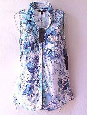 NEW~$120~BCBG~Blue White & Aqua Daisy Leaf Blouse Shirt Shell Top~12/14/L/Large