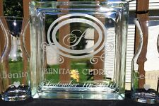 Glass Block Sand Ceremony Set Personalized Custom Etched Glass Decanter Monogram