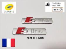 2 Logo S Line Emblème Badge Adhésif Sline Métal Silver Matt Pour VoitureAudi