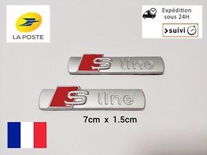 2 Logo S Line Emblème Badge Adhésif Sline Métal Silver Matt Pour Voiture Audi