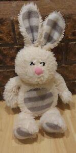 "Dan Dee Plush Bunny Rabbit Soft Stuffed Animal White Gray Stripe Pink Nose 16"""