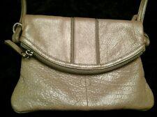 Junior Drake Shimmery Beige Leather Shoulder bag Purse Hand Bag Satchel