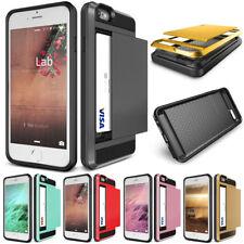 Shockproof Card Pocket Holder Hybrid Slide Wallet Case Cover For iPhone 5 5s SE