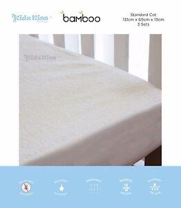 [3 Sets] Kidz Kiss Bamboo Waterproof Fitted Mattress Protector [Standard Cot]