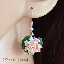 Waterlily Hook earrings, Handmade Polymer Clay, Nature, Kitsch, Quirky