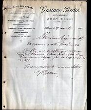 "AHUN (23) QUINCAILLERIE / BOIS de CHARPENTE ""Gustave BERTIN"" en 1912"