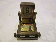 ANTIQUE PERPETUAL DESK CALENDAR NEW YORK CITY brass enameled rotating Liberty
