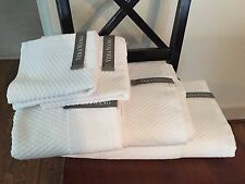 6 pc VERA WANG WHITE  Towels Diamond Pattern Front- Bath- Hand- Washcloth NWT