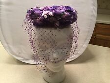 Ladies Vintage Hat  Purple Floral Floewrs Church  W/ Purple Veil Cute Veil