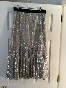 River Island silver sequin flounce skirt; lined; elasticated waist; 14; exc con