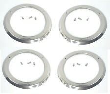 "(Set/4)  4"" Round Stainless Steel Tail Light Bezels LED Brake Stop Turn Lamps"