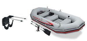 Intex Mariner 4 Inflatable Raft River/Lake Dinghy Boat Set & Motor Mount Kit