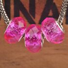 10pcs 15x9mm Faceted Round Lampwork Glass European Charms Chain Big Hole Beads