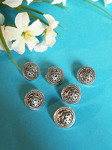 "919B/Stunning Buttons "" Stained "" Silver Set Of 6 Buttons Period 1950"