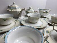 Vintage T Fine Bone China Cups Saucers Creamer Teapot Sugar Bowl Floral JAPAN
