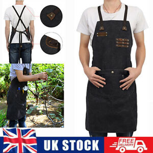Adjust Waterproof Leather Waxed Canvas Apron for Woodworking Bartender Barista