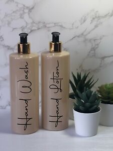 Personalised nude/beige  bottle with black/gold  pump 500ml