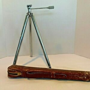 Vintage Chrome & Brass Camera Tripod Worn Leather Case Unmarked