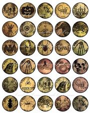 "Vintage inspired Halloween 30 1.5"" round sticker skelton bones scrapbooking"