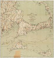 1909 Map Cape Cod, Martha'a Vineyard, Nantucket Art Poster Print Wall Decor