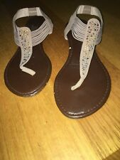 C21 Size 8 Brown & Beige Sandals Sparkly T-bar Ankle Strap Flat Shoes # 837