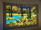 Vintage Pheasant Forest Wall Tapestry Pheasants Carpet Made in Turkey