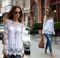 Fashion Womens Lady Hollow Flower Lace Blouse Long Sleeve Chiffon Shirt Tops