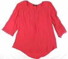 1X Plus Women's Point Zero Curvy Shirt Woven Peasant Top Honeysuckle NEW