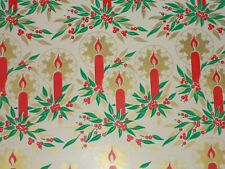Vtg Christmas Wrapping Paper Gift Wrap Nos Candle With Halo Gold Red Green