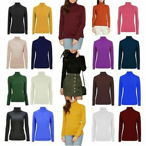 WOMENS LADIES RIBBED HIGH ROLL NECK JUMPER RIBBED POLO NECK SWEATER TOP UK SIZE