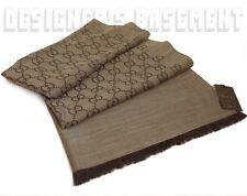 "GUCCI wool silk 2-tone taupe & brown GG scarf PASHMINA shawl 28x76"" NWT Authentc"