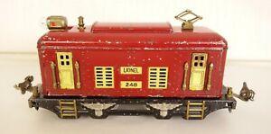LIONEL #248 PREWAR RED BOX CAB ELECTRIC LOCOMOTIVE-NICE MOSTLY ORIGINAL!