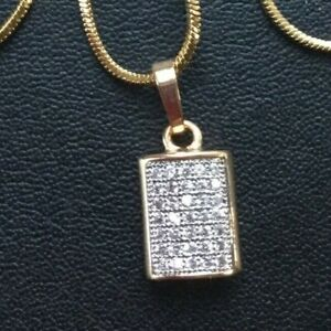 18K YELLOW GOLD FILLED WITH CZ DOG TAG NECKLACE - 18 INCH   -114