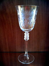 Exquisite hand-blown and engraved art glass vintage goblet