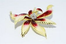 $9,000 .81CT NATURAL DIAMOND & ENAMEL LARGE FLOWER BROOCH 18K YELLOW GOLD