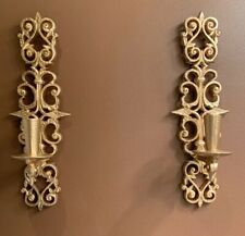 Pair Gold Burwood Product Co Faux Metal Candle Wall Sconces #4455 Syroco Gothic