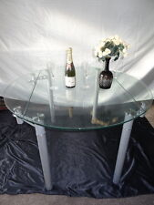 Art Deco Style Glass Chrome Metal Extending Dining Cantilever Table Seats 4