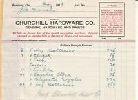 U.S. Churchill Hardware Co. Roseburg 1918 Chisel,Sickle Etc Paid Invoice Rf42777