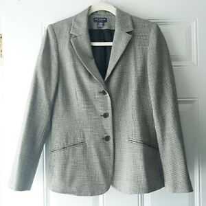 Ann Taylor Size 2 Stretch Wool Lycra Houndstooth 3-Button Blazer Career Jacket