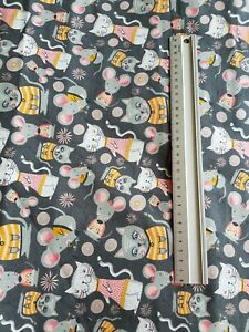 """CATS AND MICE   100% COTTON FABRIC 44"""" WIDE DRESSMAKING  CRAFTS MOUSE KITTY"""